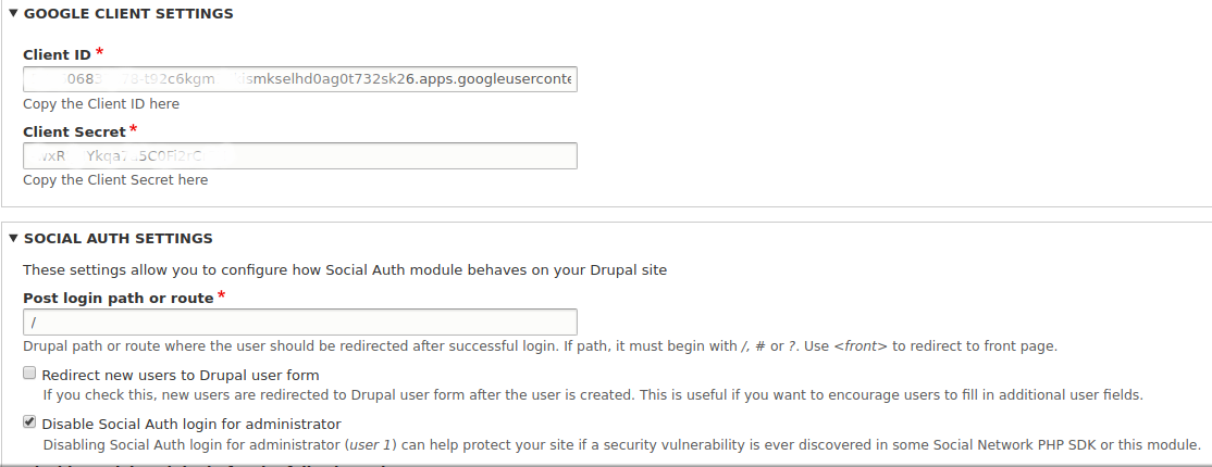 Login with google config